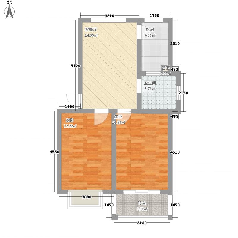 锦悦桦庭77.64㎡6#8#F1户型2室1厅1卫1厨