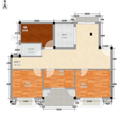 万兆家园莱茵风尚4室1厅1卫1厨118.00㎡户型图