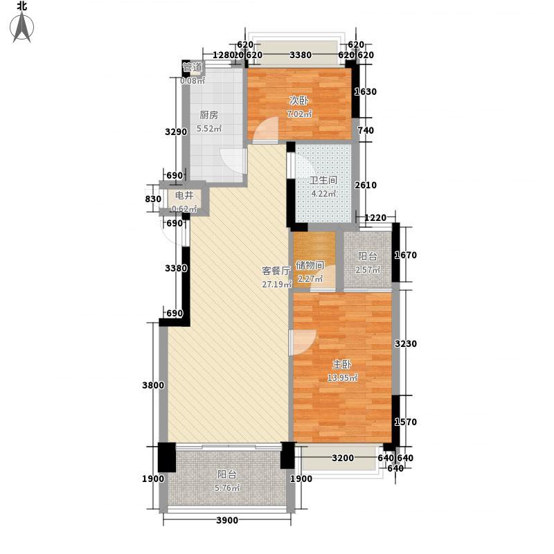 力迅城筑南区4、5号楼奇数层02单位户型3室2厅1卫1厨