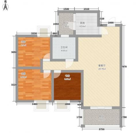 世隆华都3室1厅1卫1厨106.00㎡户型图