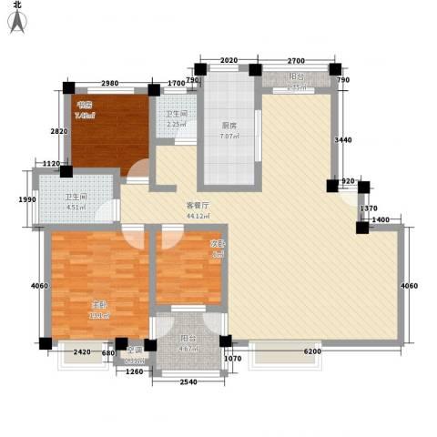 万兆家园莱茵风尚3室1厅2卫1厨132.00㎡户型图