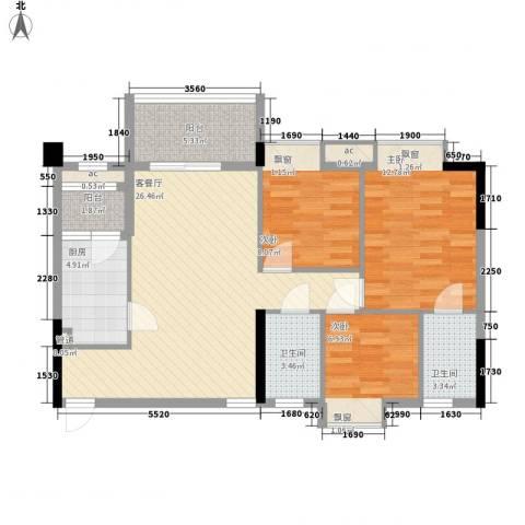 大自然广场3室1厅2卫1厨74.35㎡户型图