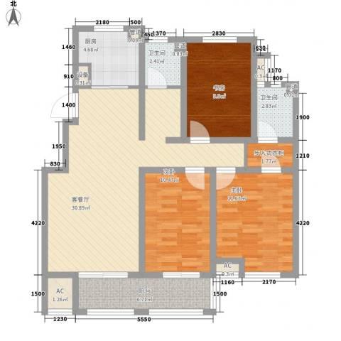 滨湖御景湾3室1厅2卫1厨124.00㎡户型图