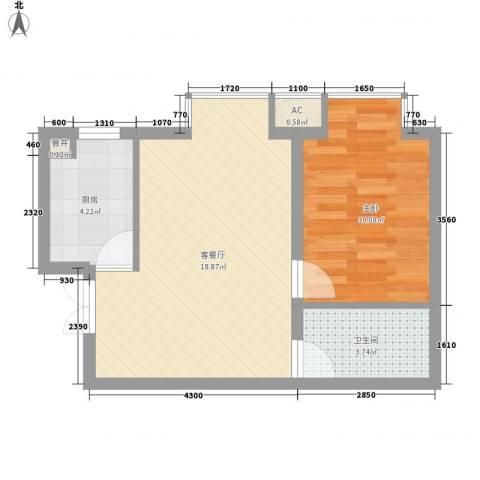 城南秀色1室1厅1卫1厨54.00㎡户型图