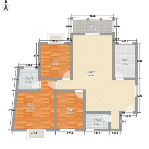 华盛家园3室1厅2卫1厨122.00㎡户型图
