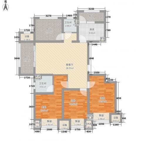 九龙仓凤凰湖墅3室1厅2卫1厨140.00㎡户型图