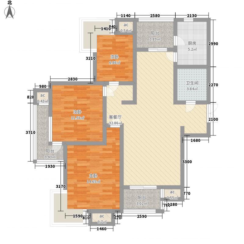 山水泉城130.91㎡山水泉城户型图二期30-34号楼-D3户型3室2厅1卫1厨户型3室2厅1卫1厨