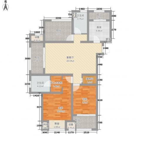 九龙仓凤凰湖墅2室1厅2卫1厨130.00㎡户型图
