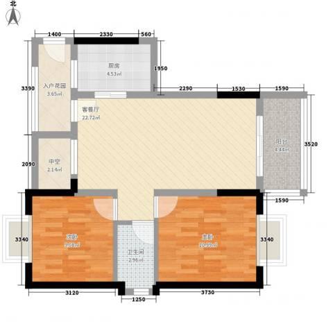 丽冠雅居2室1厅1卫1厨88.00㎡户型图