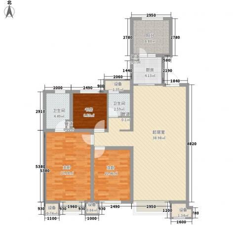 金地滨河国际社区3室0厅2卫1厨140.00㎡户型图