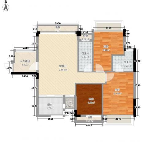 风度广场3室1厅2卫1厨69.89㎡户型图