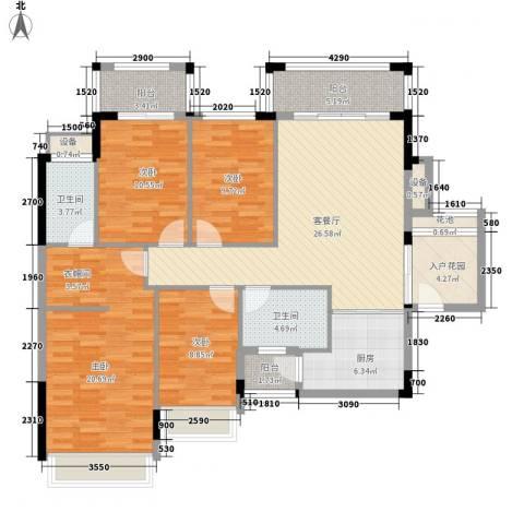 风度广场4室1厅2卫1厨127.00㎡户型图