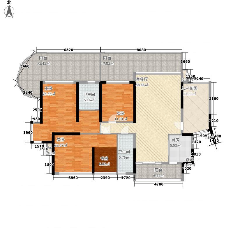 御景国际花园132.32㎡6栋2单元01户型3室2厅2卫1厨