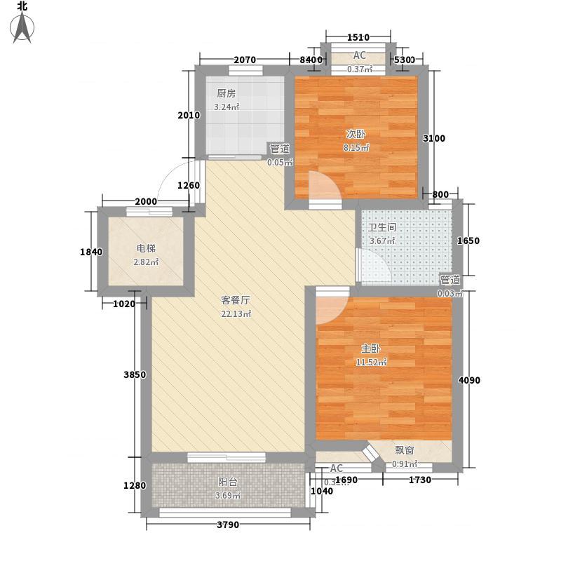 滨湖御景湾83.00㎡H组团D户型2室2厅1卫1厨