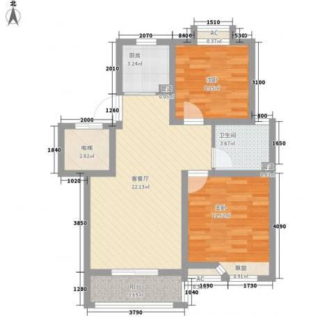 滨湖御景湾2室1厅1卫1厨83.00㎡户型图