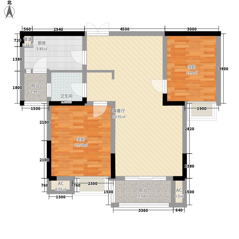 新桂广场2.00㎡9209户型2室2厅1卫1厨