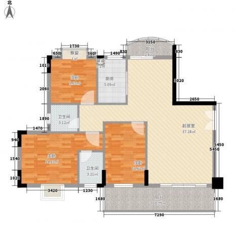 中央公馆蟠龙住宅3室0厅2卫1厨135.00㎡户型图