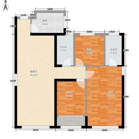 置地广场3室1厅2卫1厨131.00㎡户型图