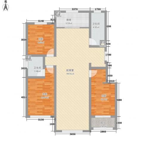 中央峰景B区3室0厅2卫1厨138.00㎡户型图