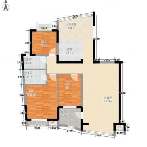 振业山水名城3室1厅2卫0厨144.00㎡户型图