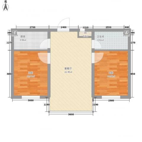 可心居2室1厅1卫1厨63.00㎡户型图