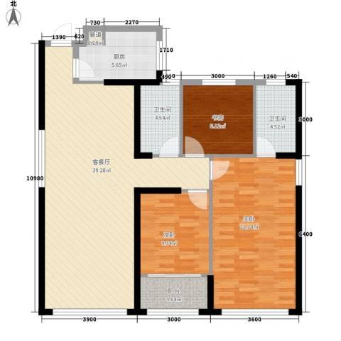 置地广场3室1厅2卫1厨135.00㎡户型图