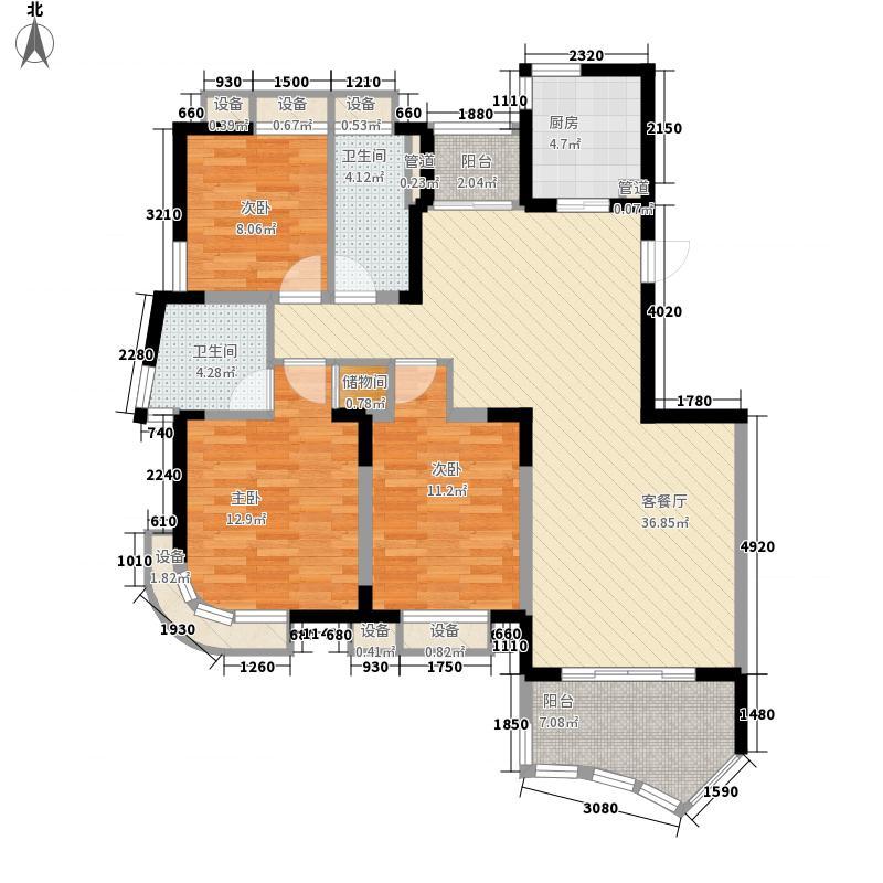 奥林花园141.72㎡奥林花园户型图典雅风范3室2厅2卫1厨户型3室2厅2卫1厨