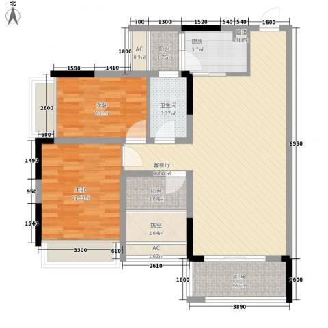 理想0769沁园2室1厅1卫1厨78.00㎡户型图
