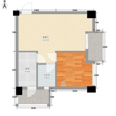 名门世家1室1厅1卫1厨54.00㎡户型图