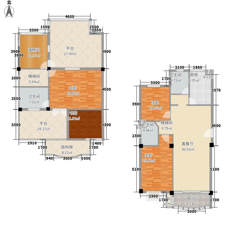 基业豪庭196.18㎡4#E型单元跃式户型4室2厅3卫1厨