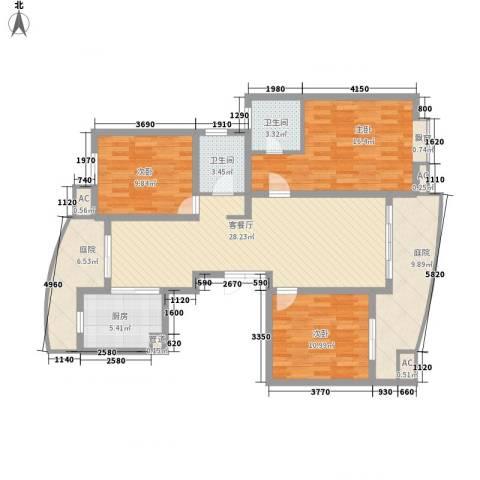 江海皇都3室1厅2卫1厨148.00㎡户型图