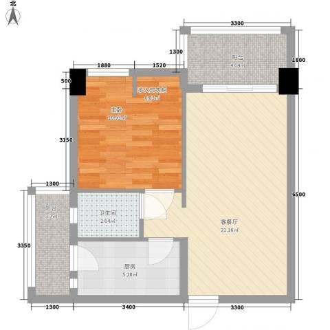 名门世家1室1厅1卫1厨58.00㎡户型图