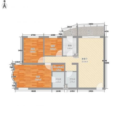 万润家园3室1厅2卫1厨100.00㎡户型图