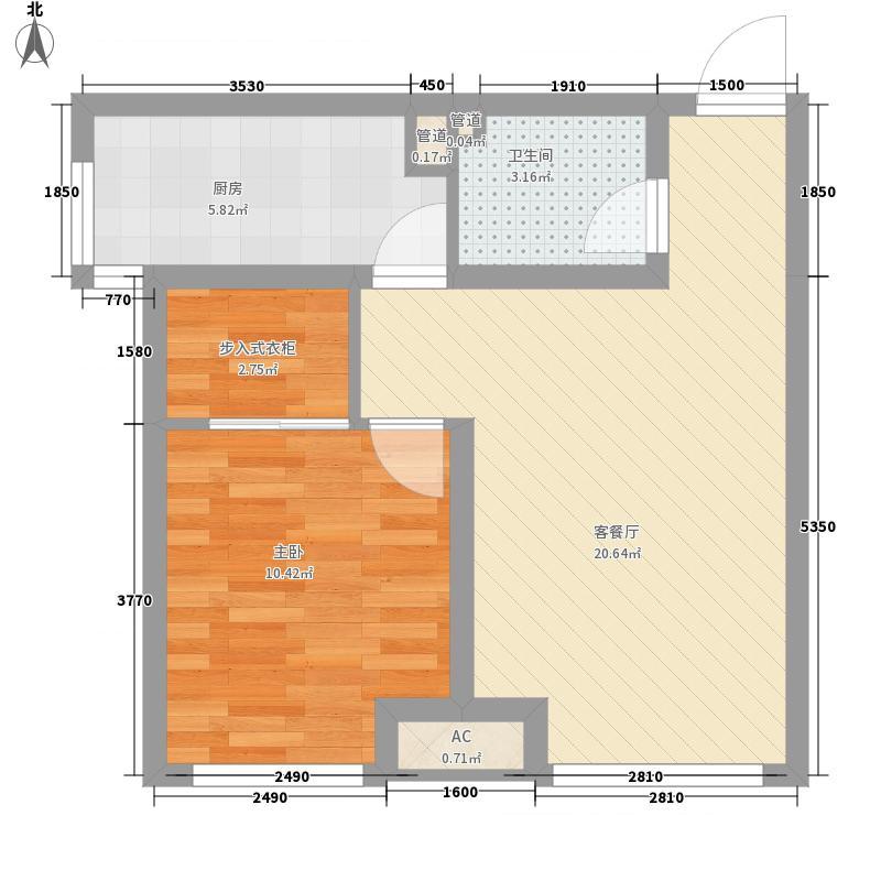 首尔甜城57.00㎡一期A12户型1室1厅1卫1厨