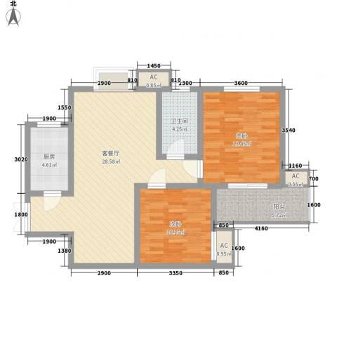 世融嘉城2室1厅1卫1厨97.00㎡户型图