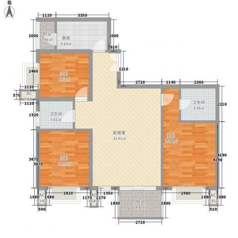 汇雅风尚3室0厅2卫1厨118.00㎡户型图