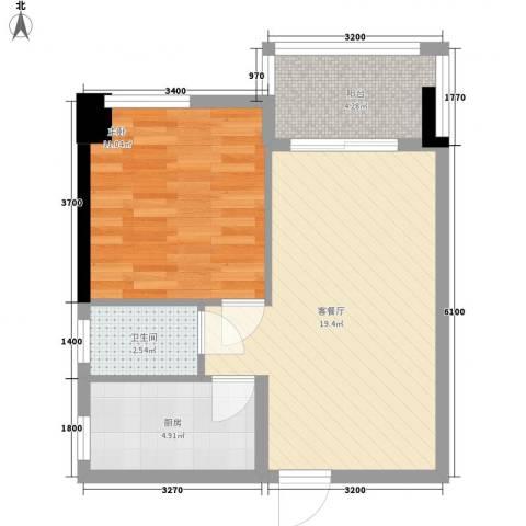 名门世家1室1厅1卫1厨60.00㎡户型图