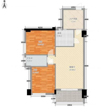 名门世家2室1厅1卫1厨84.00㎡户型图