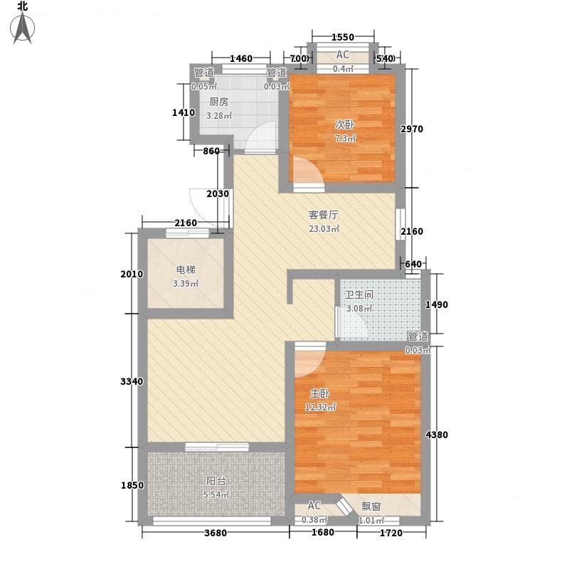 滨湖御景湾88.00㎡H组团A户型2室2厅1卫1厨
