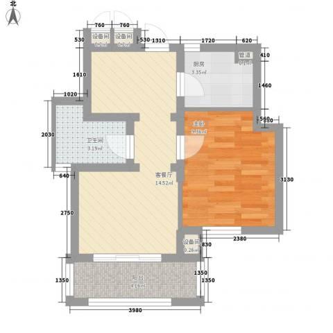 新江湾佳苑1室1厅1卫1厨54.00㎡户型图
