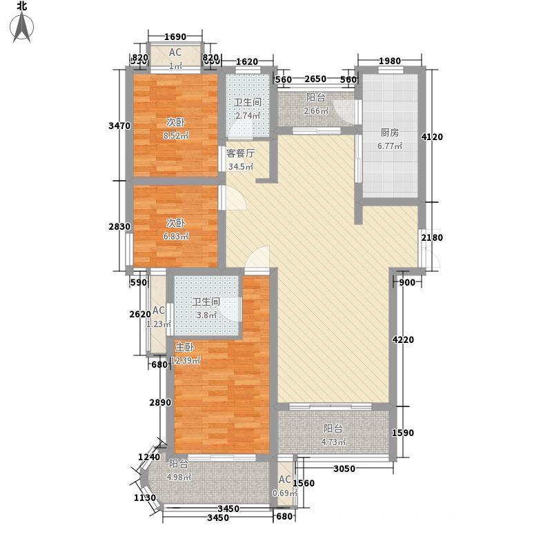 天安・芝�公馆133.00㎡A户型3室2厅2卫1厨