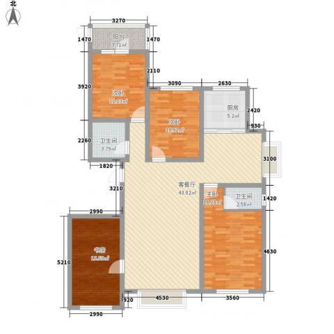 西岸国际4室1厅2卫1厨156.00㎡户型图