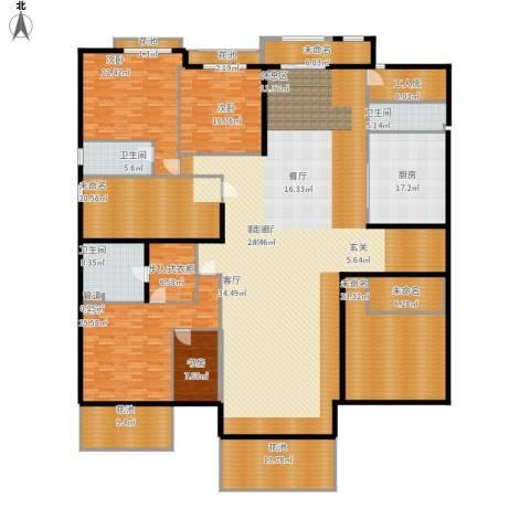 开明小区4室1厅3卫1厨444.00㎡户型图