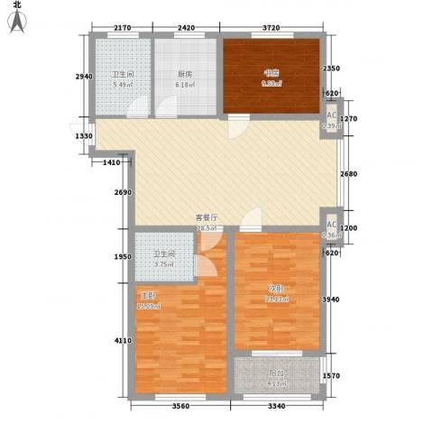 金色蓝庭3室1厅2卫1厨123.00㎡户型图