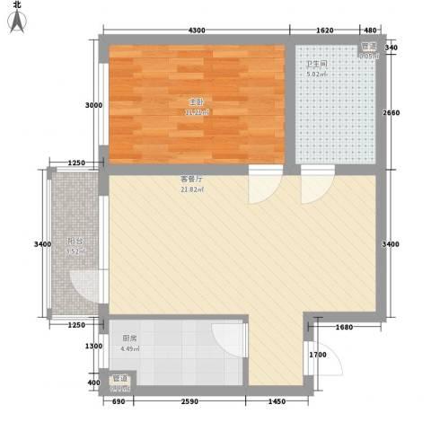 君泰风尚国际1室1厅1卫1厨67.00㎡户型图