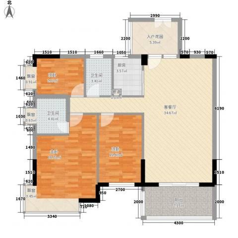 金色华庭3室1厅2卫1厨94.95㎡户型图
