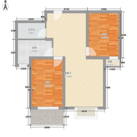 升达置地广场2室1厅1卫1厨63.09㎡户型图