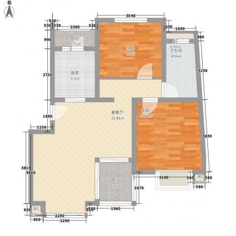 康桥水都2室1厅1卫1厨93.00㎡户型图