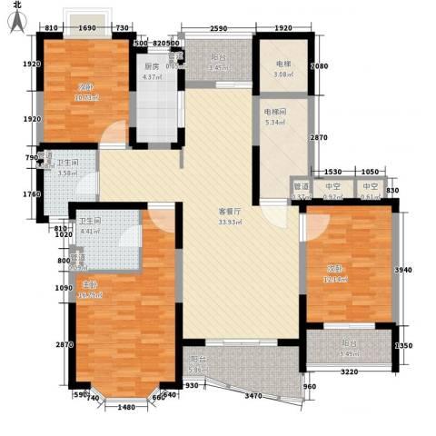 强生古北花园3室1厅2卫1厨159.00㎡户型图