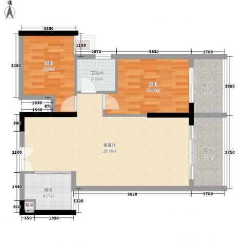 人民大厦2室1厅1卫1厨89.00㎡户型图